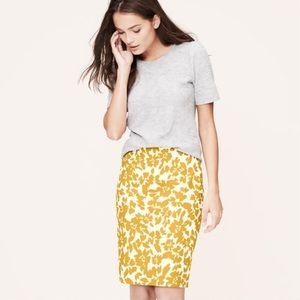 LOFT   Mustard Yellow Floral Pencil Skirt Petites